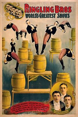 1901 Circus Poster Ringling Bros Raschetta Brothers Acrobatic Act - 20x30