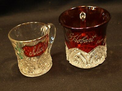 2 Antique Different Flash Ruby Red 1 Painted Crystal Glass Bar Cup / Mug Glasses