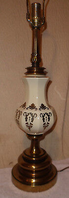 Vintage Westwood Porcelain/Brass Lamp Nice Big Gold Trim Flame Flower Bud Top