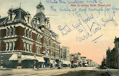 Elkhart Indiana, vintage 1907 postcard, Main Street looking north, hand tinted