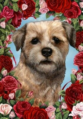 Garden Indoor/Outdoor Roses Flag - Border Terrier 191221