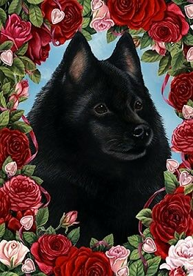 Garden Indoor/Outdoor Roses Flag - Schipperke 191011