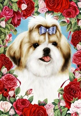 Garden Indoor/Outdoor Roses Flag - Tan & White Shih Tzu 192291