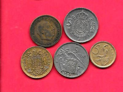Spain Spanish 5 Diff Different 1962-1994 Old Pre-Decimal Coin Lot Collection Set