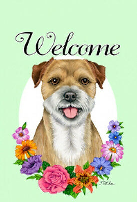 Garden Indoor/Outdoor Welcome Flag (Flowers) - Border Terrier 631221