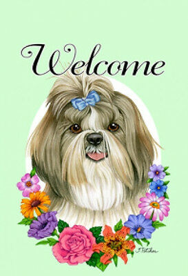 Garden Indoor/Outdoor Welcome Flag (Flowers) - Brown & White Shih Tzu 632291