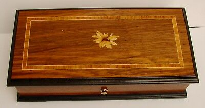 Very Nice Vintage Thorens Swiss Made 4 Song / Tune Inlaid Wood Music Box - NR