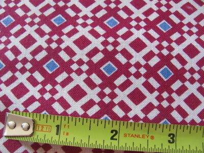 Vintage original cotton geometric feed sack maroon and blue