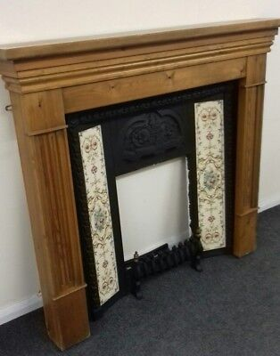 Victorian Style Solid Pine & Cast Iron Tiled Fire Surround - H43