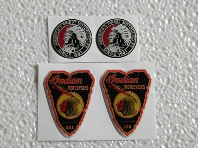 Set Of 4 Indian Motorcycles Resin Stickers Decal Chief Dip Dot Helmet Pin Patch