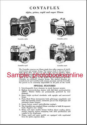 Zeiss Contaflex Cameras-Accessories Catalog w/Product Codes & Prices: Reprint