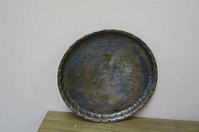 Vintage Antique Copper Tray Islamic Middle Eastern Ottoman Sailboat  Calligraphy
