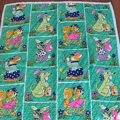 Vintage Baby Quilt Novelty Cat Dog Squirrel Bunny ~ Adorable ~
