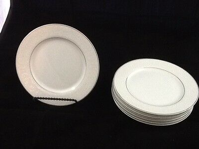 Set of 6 Carlton Plymouth  Bread Butter Plates White Scrolls Japan Silver Trim