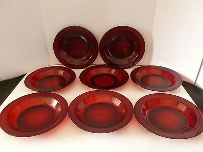 Lot 8 Arcoroc France Ruby Red Rimmed Soup Salad Bowls 8.5 inch