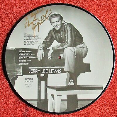 "JERRY LEE LEWIS Signed In Gold Sharpie Auto Picture Disc 12"" LP Denmark RARE"