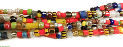 """3 Strands Christmas Trade Beads """"Love Beads"""" Africa SALE WAS $9.99"""