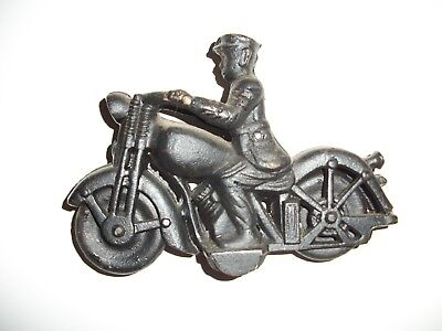 Vintage Hubley Black Cast Iron Police Motorcycle Toy