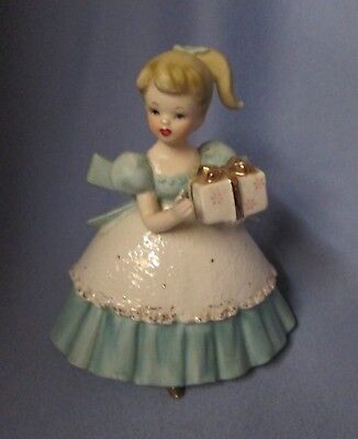 cute figural Napco planter - pony tail girl lady holding a  gift / package C6434