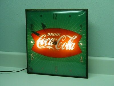 Vintage Drink Coca Cola Wall Clock, Electric, Lighted, PAM Glass, Fish Tail