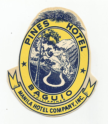 HOTEL PINES luggage BAGUIO DECO label (PHILIPPINES)