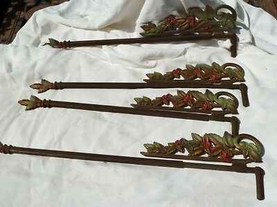 4 Vintage Victorian Swing Arm Curtain Drapery Rods, Poly Chrome, Extendable
