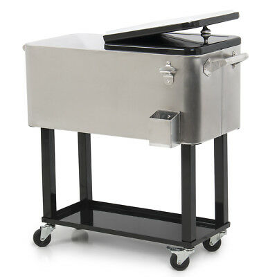 80 Quart Portable Rolling Ice Chest Cooler Party BBQ Soda Beverage Outdoor Stand