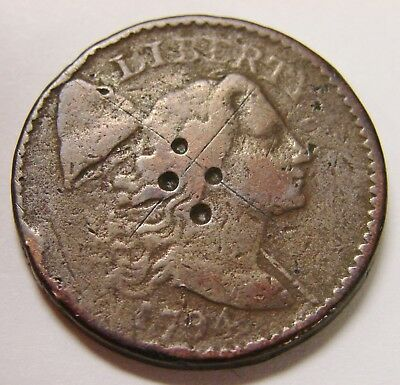 1794 - Liberty Cap Large Cent - 13.0 grams - Damaged & Scratched