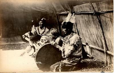~1910 American Indian Ceremony with Drum - Lac Du Flambeau Wisconsin real photo
