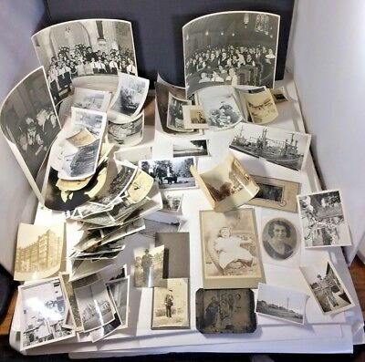 Huge Lot of 75 Old 1890's - 50's Antique B&W Snapshot Photos,Ships,Military,Dogs