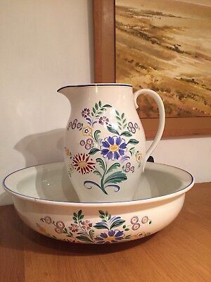 """A J Grays Pottery Jug And Bowl """"Nosegay"""" Early Susie Cooper Heals Art Deco"""