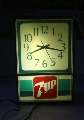 Lighted 7-Up Advertising Clock- Works- #7195