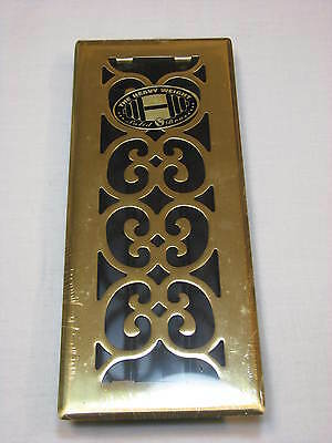 "NEW Solid Brass Floor Register 12""x4"" Decor Grates Decorative Hardware Hollywood"