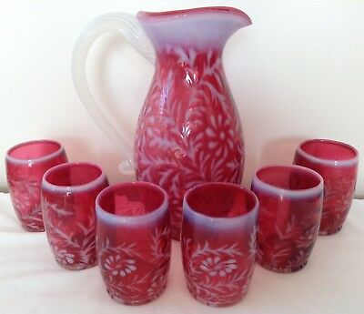 Fenton Art Glass Cranberry Opalescent Fern And Daisy Pitcher & 6 Tumblers