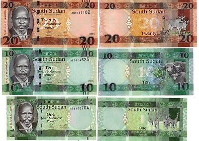 LOOK  !  SOUTH SUDAN  -  3  great different  UNC   1 / 10 / 20  POUNDS #2015 !