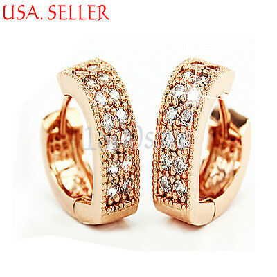 18K Rose Gold Filled Mirco Pave Crystal Heart Shape 14mm Small Hoop Earring E990