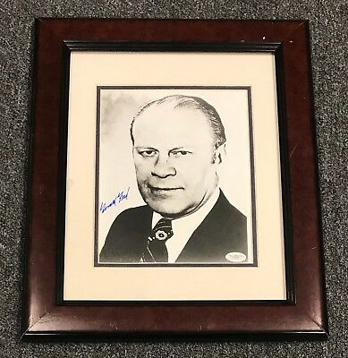 President Gerald Ford Signed 8x10 Photo AUTO Framed 14x17 JSA Sticker ONLY