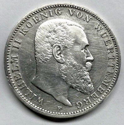 1909-F Wuerttemberg / Germany Silver 3 Mark