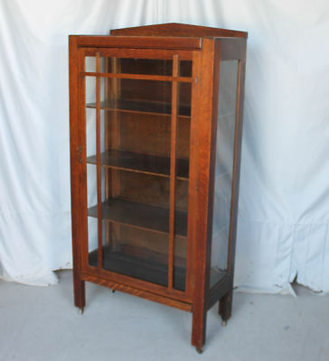 Antique Mission Oak China Curio Cabinet – original finish  Arts and Crafts Style