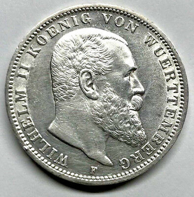 1912-F Wuerttemberg / Germany Silver 3 Mark
