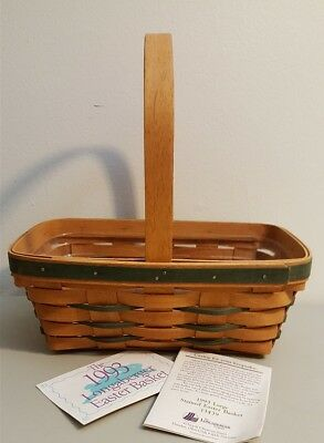 Longaberger 1993 LARGE STAINED EASTER BASKET #13439 With Protector