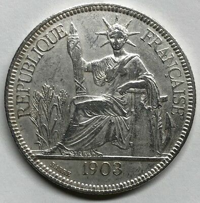 1903-A FRENCH INDOCHINA SILVER PIASTRE KM#5a.1