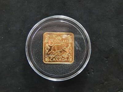 2006 Canada $3 Beaver Square Gold Plated .925 Silver Coin