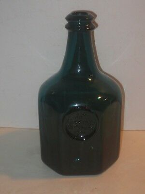 Blenko Williamsburg Restoration Teal Blue-Green Glass Bottle, Jn Greenhow