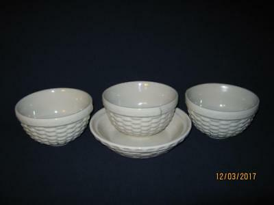 4-Longaberger Pottery Woven Reflections Traditions Cereal/pie Baking Bowls