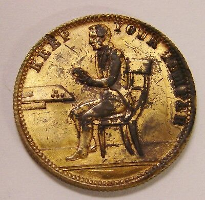 Keep Your Temper - ca. 1850's Gaming Token - Eagle Reverse - Gilt Brass, 22mm
