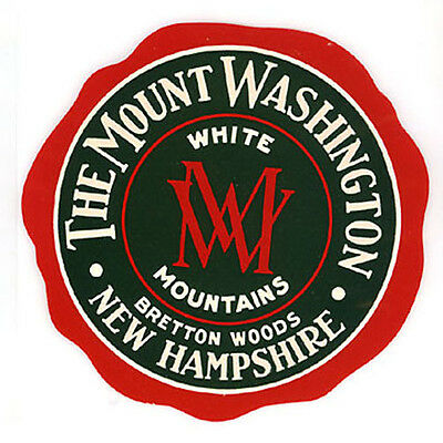 Vintage Hotel Luggage Label Mint New Old Stock The Mount Washington