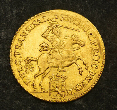 "1761, Netherlands, Overijssel. Gold 7 Gulden ""½ Golden Rider"" Coin.(aXF) 4.98gm!"