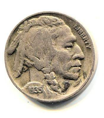 US 1935 D Indian Buffalo Nickel - American Five Cent Coin - Denver Mint