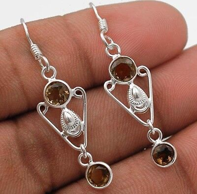 Smoky Topaz 925 Solid Sterling Silver Earrings Jewelry 1 2/3'' Long